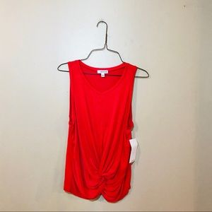 NWT Coral Pink Knot Front Tank Top